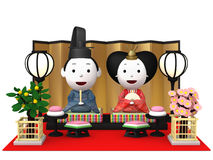 `Hina Ningyou` Japanese traditional dolls for girls. stock illustration