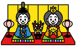 Hinamatsuri dockafestivalen av Japan stock illustrationer