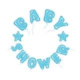 Hincha el marco del azul de la fiesta de bienvenida al bebé Imagen de archivo