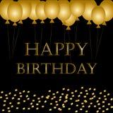 Hincha feliz cumpleaños en negro Fondo del día de fiesta de las chispas del globo del oro Feliz cumpleaños usted logotipo, tarjet libre illustration