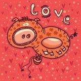 Hinche con un retrato de un amor feliz del cerdo y del texto libre illustration