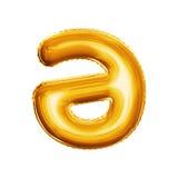 Hinche la letra un Schwa con alfabeto realista de la hoja de oro del movimiento 3D Imágenes de archivo libres de regalías