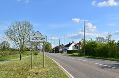 Hinckley welcome sign. A welcome sign next to the road at Hinckley near Leicester stock photo