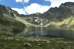 Hincovo lake in High Tatras Mountains Royalty Free Stock Images