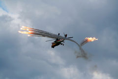 Hind helicopter flares Stock Photography