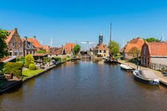 Hindeloopen Friesland Netherlands. View on the village of Hindeloopen, Friesland, Netherlands on spring day Royalty Free Stock Photography