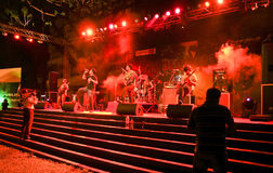 Hindi Rock group-Ashwamedh performing on stage. Hindi rock group , Ashwamedh live in concert in an Indian B-school Stock Image