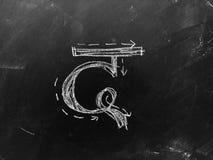 Hindi Script Handwritten sur le tableau noir Traduction : Hin écrit photo libre de droits