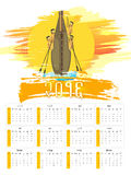 Hindi Yearly Calendar of New Year 2016. Creative Hindi Yearly Calendar of 2016 with illustration of snake boat for Happy New Year celebration Stock Photography