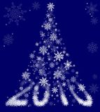 Hindib. Christmas background of a snowflake falling form 2010 Stock Photo
