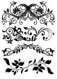 HindiB. An illustrated set of various patterns designs in black color, isolated on white background Stock Image