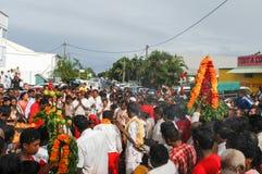 Hindische Feier von Pandiale am Heiligen Andre auf La Réunion Stockbilder