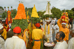 Hindische Feier von Pandiale am Heiligen Andre auf La Réunion Stockbild