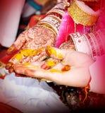 Hindisches Rituale haldi auf Bräutigam u. Braut ` s übergibt havan phere stockfotos