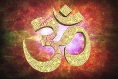 Hindisches Wort, das OM- oder Aum-Symbol liest Stockbild