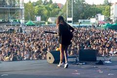 Hindmusikband i konsert på den Dcode festivalen Arkivbild
