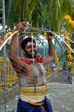 Hindoes festival Thaipusam: doordrongen liefhebber in Singapore Royalty-vrije Stock Afbeeldingen