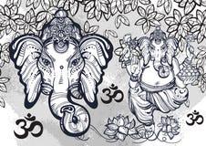 Hindoes Lord Ganesha over waterverfachtergrond Mooie bloemenelementen aroud Hoog-High-detailed vectorillustratie, tatoegeringsart Royalty-vrije Stock Foto