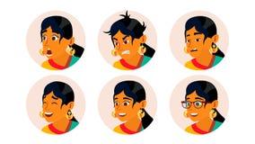 Hindoese Bedrijfsvrouwenavatar Vector Vrouwengezicht, Geplaatste Emoties Indische Vrouwelijke Creatieve Placeholder Modern Meisje royalty-vrije illustratie
