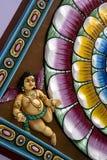 Hindoese Deity die op Plafond wordt gesneden Stock Foto's