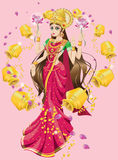Hindoese Godin Lakshmi Stock Afbeeldingen
