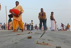 Hindoese pelgrims Stock Foto's