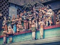 Hindoese Tempel Cijfers aangaande de muur van de tempel Royalty-vrije Stock Afbeelding