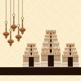 Hindoese Tempel op Patroonachtergrond Stock Afbeeldingen