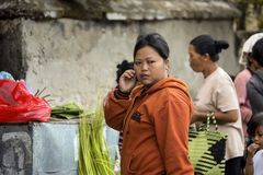 Hindoese vrouw, dorp Toyopakeh, Nusa Penida 21 Juni 2015 Indonesië Royalty-vrije Stock Afbeeldingen