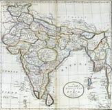 Hindostan或印度的古色古香的地图 库存照片