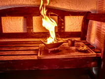 Hindu Agnihotra fire ceremony Stock Photo