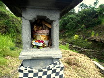 Hindu Altar in Bali. Island with some offerings Stock Image