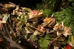 Hindu-Balinese offerings of flower petals, palm leaves, incense sticks and rice in Ubud, Bali, Indonesia Stock Images