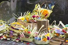 Hindu Balinese offerings to the gods consisting of woven baskets. Containing food and flowers royalty free stock images