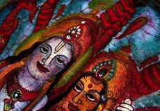 Hindu batik detail. Closeup of fabic batik Hindu art Stock Images