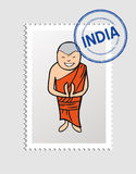 Hindu cartoon person postal stamp Royalty Free Stock Images