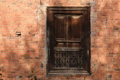 Hindu carved wooden window Stock Image