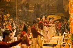 Hindu Ceremony. Ganga Seva Nidhi ceremony in Varanasi.Hindu priests perform religious Ganga Aarti ritual on January, 2011 at Varanasi, Uttar Pradesh, Central Royalty Free Stock Images