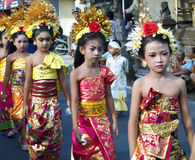 Hindu ceremony on the streets of Ubud Stock Photos