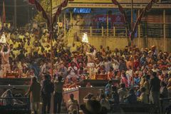 Hindu ceremony in Varanasi as seen from a boat by night, India royalty free stock image