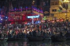Hindu ceremony in Varanasi as seen from a boat by night, India stock photos