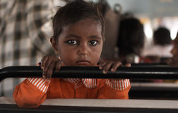 Hindu Child. Young Indian Child on a bus in Rajasthan, India Royalty Free Stock Photo