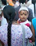 Hindu child. With rabbit hat on poson festival Unawatuna Sri Lanka Royalty Free Stock Photography