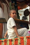 A Hindu child pilgrim. stock photos