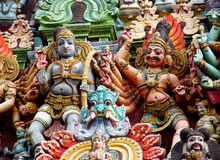 Hindu colorful Gods statues in India Stock Image