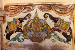 Hindu concept painting from the walls of a South Indian temple Stock Image
