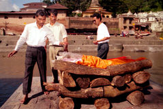 Hindu Cremations at Pashupatinath Temple in Kathmandu Nepal Royalty Free Stock Images