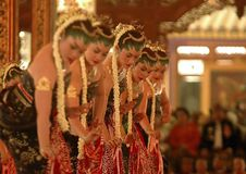 HINDU CULTURE TRACES JAVANESE INDONESIA. A Javanese cultural event in the court of Mataram Islamic Kingdom, Surakarta, Java, Indonesia. Though most Javanese are Stock Image