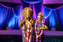 Hindu Deities in front of mandap at Indian wedding Royalty Free Stock Image