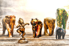 Hindu Deity Ganesh Figurine in Dream of Elephants Royalty Free Stock Photos